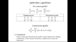 Действия с дробями: сложение, вычитание, умножение и деление.