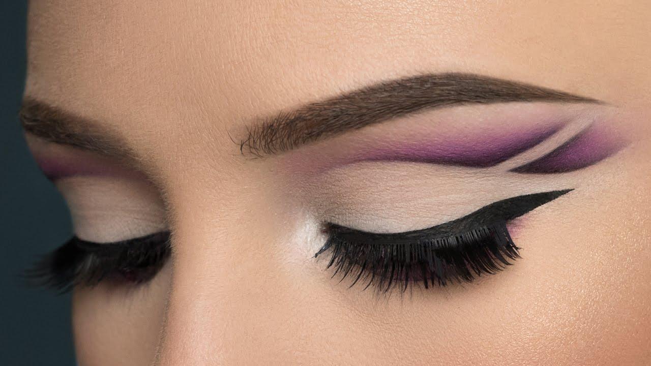 Purple Double Cut Crease U0026 Matte Nude Lips Makeup Tutorial ...