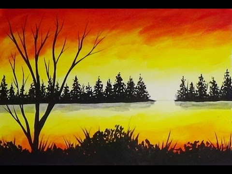 Acrylic Painting Sunset Cove And Pine Trees Silhouette