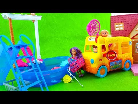 Barbie Doll Goes Fishing with Chelsea Barbie - Barbie's sister Go Fishing- Fishing Toys Playset