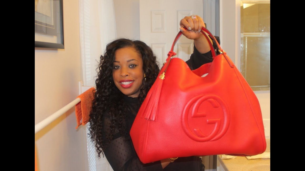 6a1b0c32fcd74 Gucci Soho Leather Shoulder Bag   in red   - YouTube