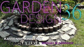 GARDEN DESIGN (36) - Wrzosy - Kamienny klomb - Mozaika kam. na czarnym cemencie