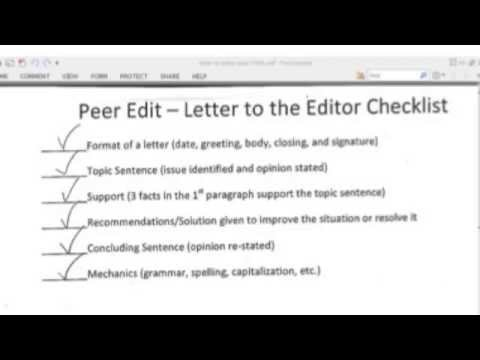 Peer editing checklist essay