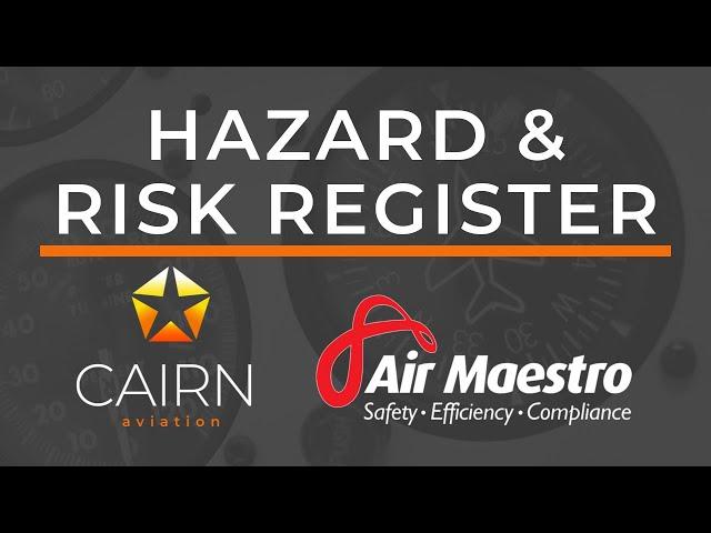 September 2019 Webinar - Air Maestro Hazard & Risk Register