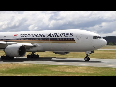 Plane Spotting at Canberra Airport using Runway 35 Including Singapore 777