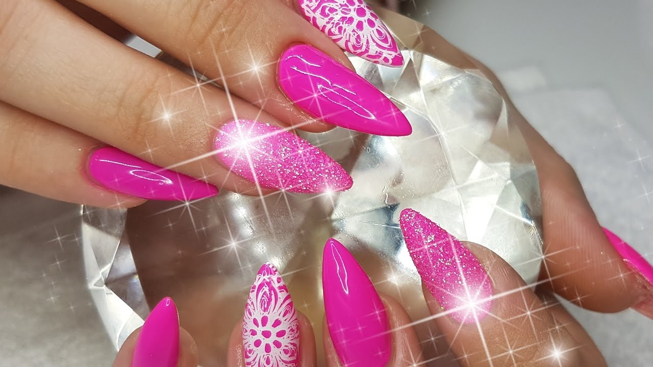 Acrylic Nails Bright Pink With Raw Glitter Stamping