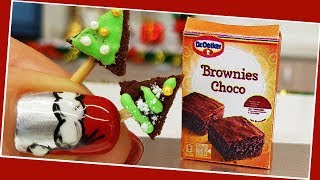 Mini Christmas tree Brownie/ Miniature cooking / Mini Food / Jenny's mini cooking show / 食べれるミニチュア