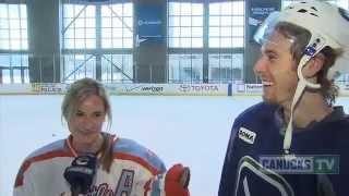 David Booth's Sister Joins Canucks Practice (mar. 8, 2013)