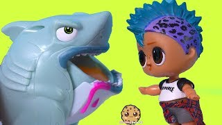 LOL Surprise Boy Helps Slime Crate Creatures Sharks ! Cookie Swirl C Toy Video