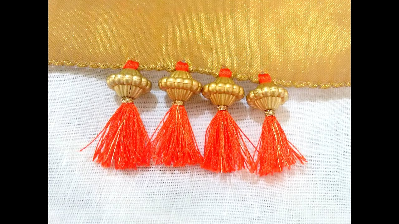 How To Do Saree Kuchu With Beads  Design 4   YouTube