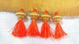 How to do Saree Kuchu with Beads- Design 4
