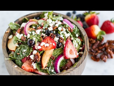 Mixed Berry Spinach Salad With Strawberry Balsamic Vinaigrette Dressing