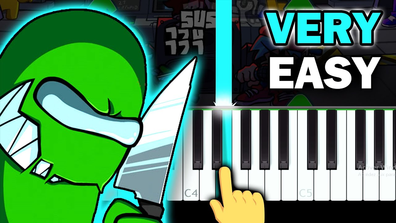 Reactor - FNF Vs. Imposter V3 - VERY EASY Piano tutorial