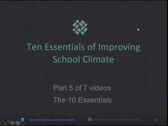"""The 10 Essentials for Improving School Climate""  Part 5 of 7"