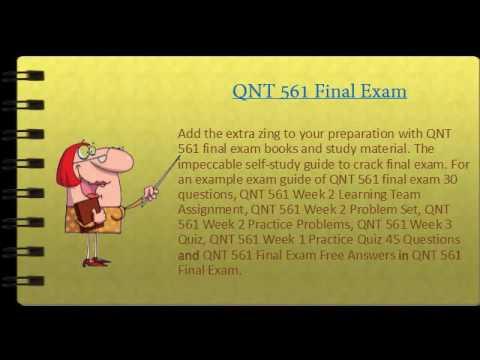 QNT 561 Final Exam 30 Questions