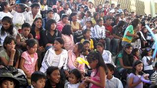 children of cdi bo571 getting ready to see the coco y pandilla performance in cochabamba