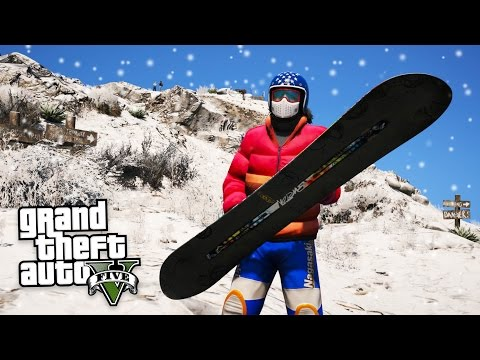 GTA 5 SNOWBOARDING MOD!! (GTA 5 Mods)