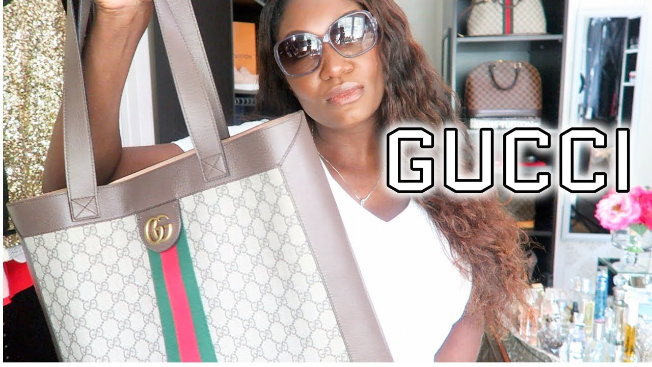63dab1fe6f42 WHAT'S IN MY BAG | OOTD | GUCCI OPHIDIA SUPREME LARGE TOTE - YouTube