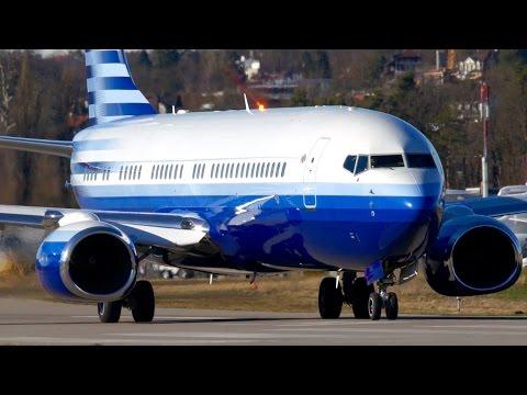 Boeing 737-800 N737M * Full Throttle Take-Off * at Bern Airport