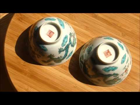 #Antique Chinese Porcelain# PAir of Dragon Wine CUps Qing Marked