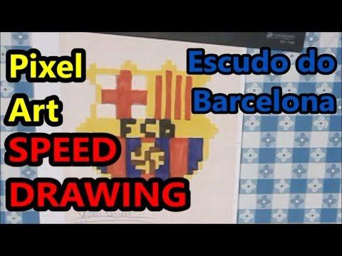 Desenhando O Escudo Do Barcelona Pixel Art Campeonato Espanhol Speed Drawing