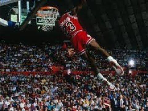Michael Jordan Leaning WIndmill Slam Dunk 1987 - YouTube