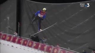 JO 2018 : Combiné Nordique - Grand Tremplin. Jason Lamy-Chappuis pour son premier saut