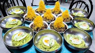 하루 150그릇만 판매! 초대형 산더미 고구마튀김 짜장면, 속노랑 간짜장, Amazing Black bean sauce noodles with Fried Sweet Potatoes