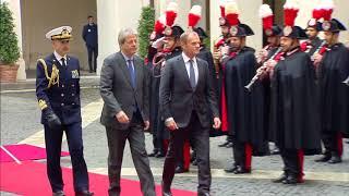Roma - Gentiloni riceve il Presidente del Consiglio Europeo Donald Tusk (14.02.18)
