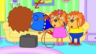 Lion Family How to wake up Dad - Mom knows the Secret Cartoon for Kids