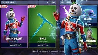 'NOUVEAU' SLUSHY SOLDIER SKIN IN FORTNITE! - BOUTIQUE D'ARTICLES DE NOEL! (New Fortnite Skins Live)