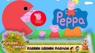 Peppa Pig Wutz Farben lernen mit Pacman für Kinder auf Deutsch