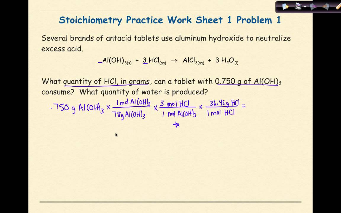 Worksheets Stoichiometry Worksheet ap chemistry stoichiometry worksheet 1 problem youtube 1