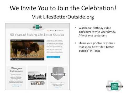 TPWD 50th Anniversary Celebration Presentation for TXCRFs