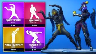 NEW* LEAKED FORTNITE SEASON 5 DANCES/& SKINS! (Fancy Feet,Dance therapy,Capoeira,Shake it up)