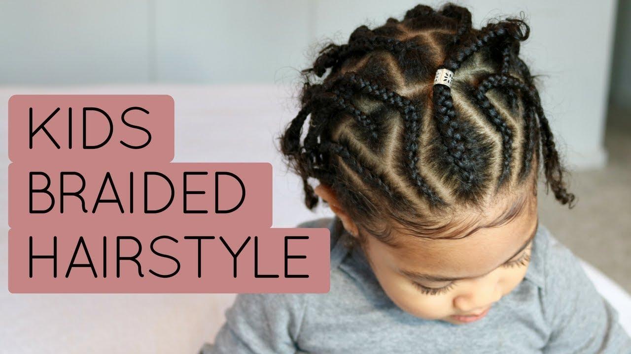 Trendy Braided Hairstyle Kids Natural Hair Tutorial Youtube