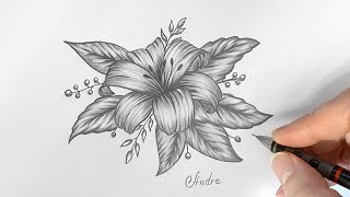 How to draw a Beauтiful Flower Design with Pencils