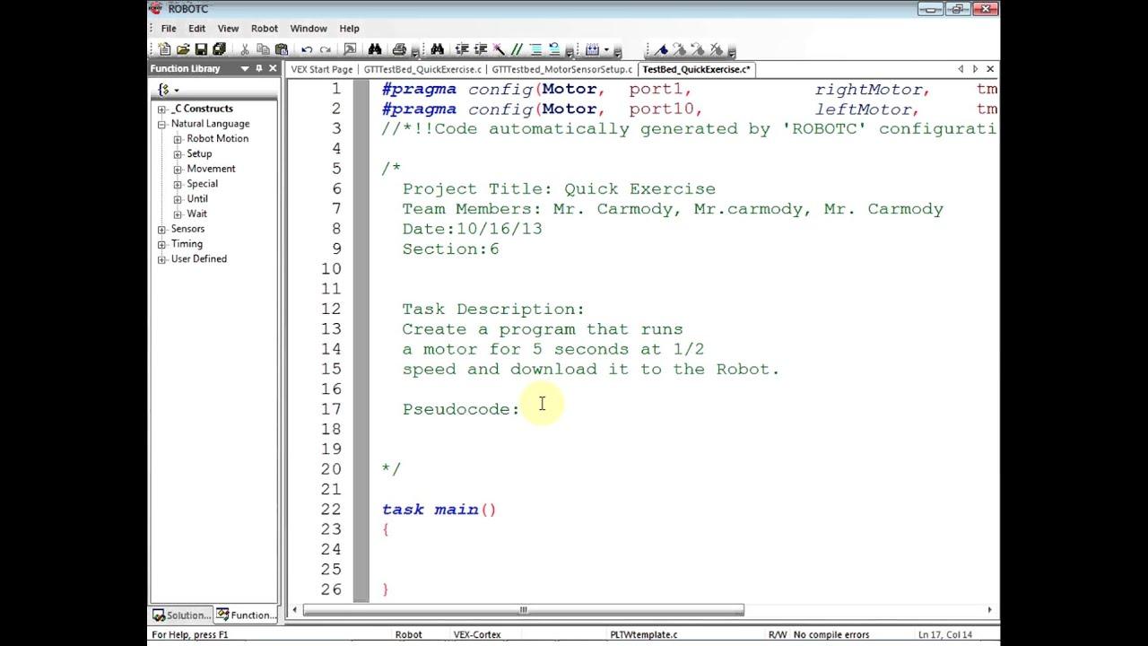 Vex Robotc 3 x : Lesson 6: Write first program