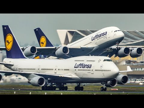 AIRBUS A380 OVERTAKES A BOEING 747 during DEPARTURE - 11 BIG PLANE Departures at Frankfurt (4K)