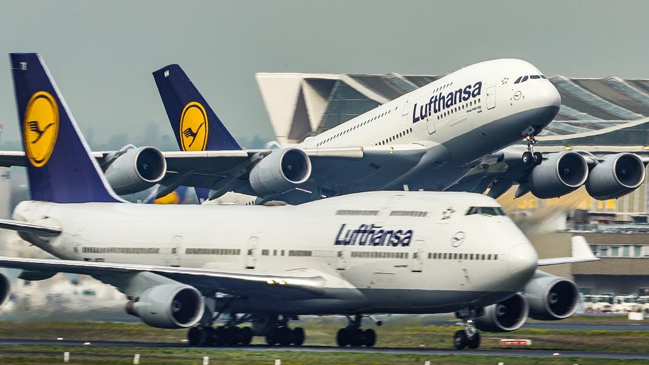 Airbus A380 Overtakes A Boeing 747 During Departure