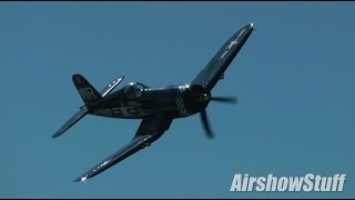 f4u corsair aerobatics wings over waukegan airshow 2014