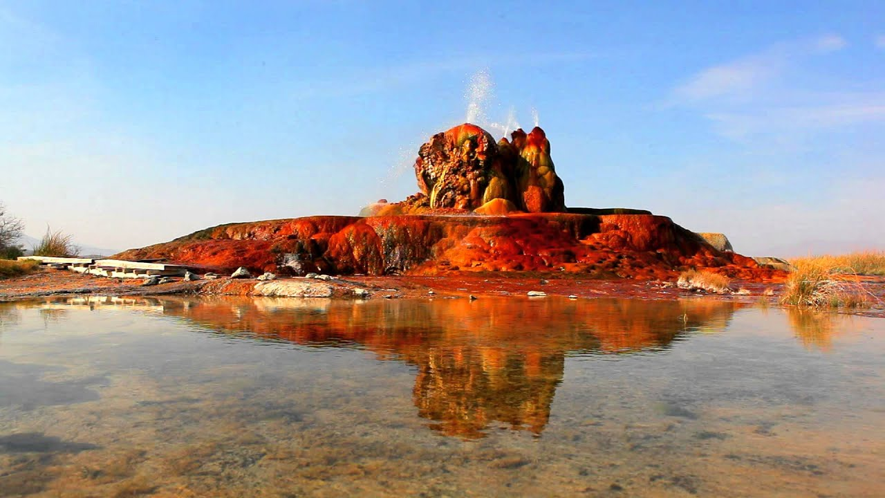 Pond Wallpaper Hd Water Shooting Out Of Colorful Rocks At Fly Geyser And Its
