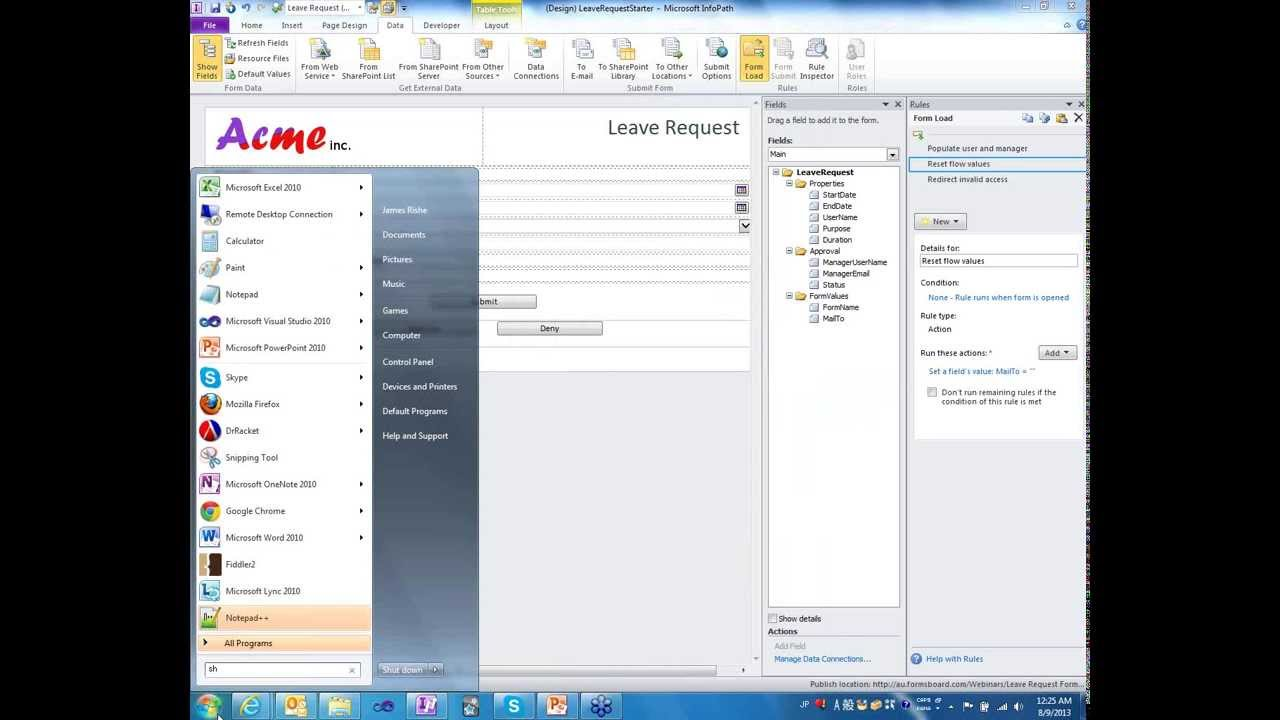 InfoPath Basics: Creating an Approval Form - August 8, 2013 InfoPath 2013 Tutorial
