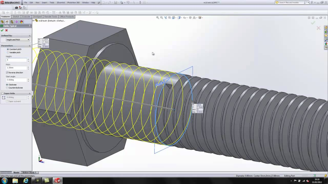 Solidworks modelling of M10 bolt a simple demo to start with