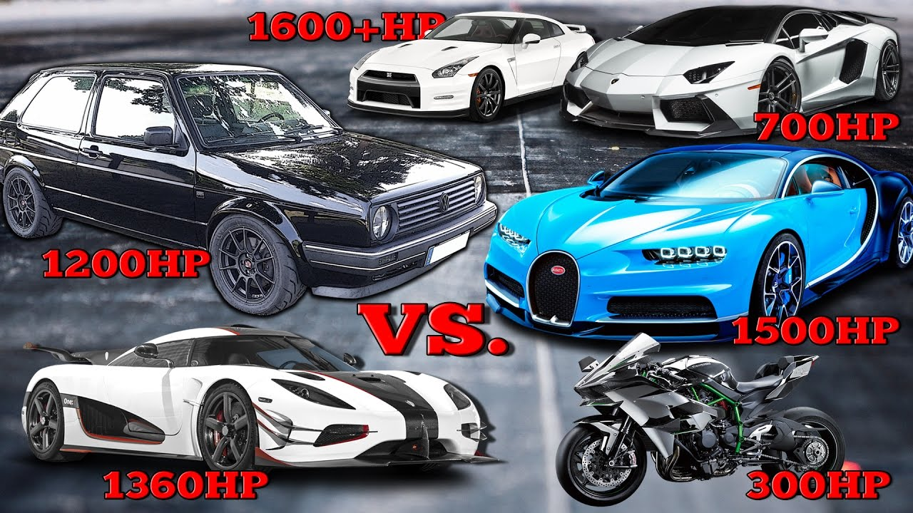 VW Golf 1200HP Vs Bugatti Chiron Koenigsegg One Kawasaki H2R Tacho Comparison 2017