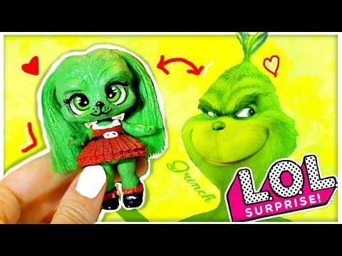 THE GRINCH LOL GIRL Surprise Doll Custom With real HAIR Goals DIY / Tutorial