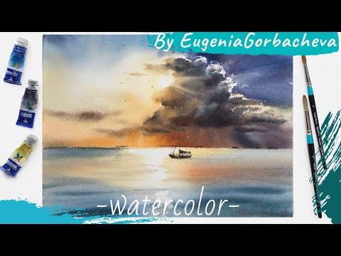 Watercolor Painting Short Lesson | Seascape, Clouds And Sun | Акварель