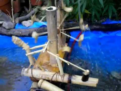 Molino para estanque de agua artesanal casero youtube for Casas para jardin de pvc