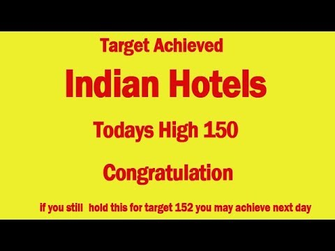 short term positional call - Indian Hotels achieved target of 150 on 17/1/18