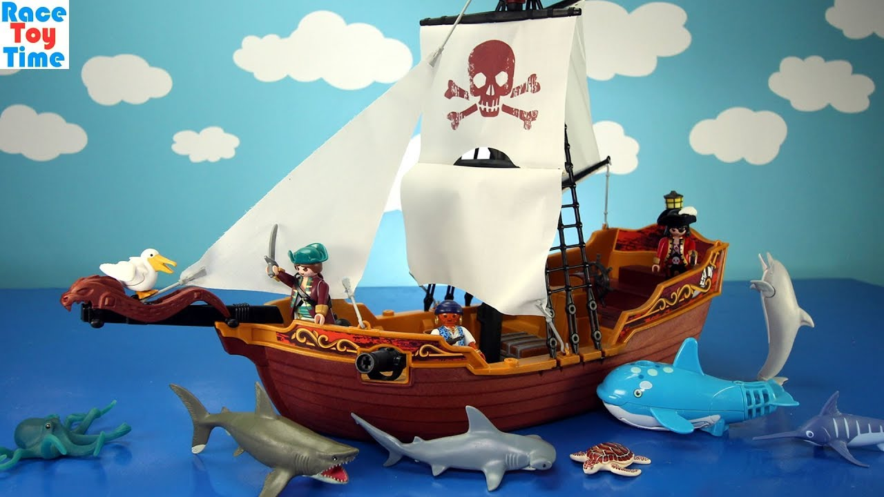 Playmobil Pirate Ship Playset Build and Play and Learn Sea Animals Names  Toys In The Pool For Kids